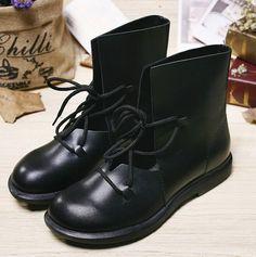 the latest 3acf6 66b03 Handmade Black ShoesAnkle BootsOxford Women Shoes Flat by HerHis  Läderstövlar, Svart Läder, Platta Skor