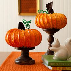 Halloween craft / decoration...Very pretty pumpkin decoration made from plastic dryer duct