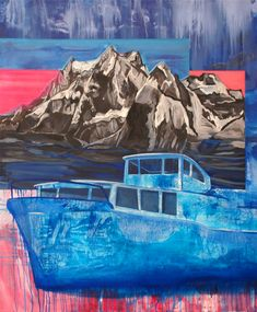Mountain, Boat, oil on canvas, cm Oil On Canvas, Mountain, Paintings, Outdoor, Outdoors, Paint, Painting Art, Outdoor Games, Painting