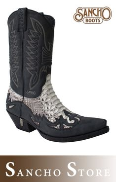ef7e94bbd7 Sancho Boots 10106 Chuardas - Westernstiefel Nappaleder und hellem Python  Schlangenleder