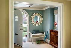 I'm Kelly Rogers, of Interiors for Families and Kelly Rogers Interiors. As a longtime reader of House of Turquoise, I am tickled pink (or, should I say, a mid-tone blue-green) to be fill… House Design, House Colors, Interior Design, Home, House, Foyer Design, Interior, Interior House Colors, New Homes