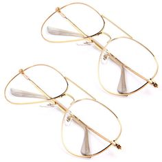 c55701022dea47 Unisex Gold Big Round Metal Frame Clear lens Vintage Retro Geek Fashion  Glasses