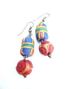 African earrings with beads from Ghana (S-531c) van Dome's Design op DaWanda.com  Afrika | Afrika | Ghana | Ivoorkust | Ivory Coast | Côte d'Ivoire | oorbellen | earrings | Boucles d'oreilles | chaîne | chain | beads | glaskralen | Dome's Design