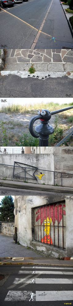 Street Art. I can't pick a favorite, but the cross-walk one would make me laugh in real life.