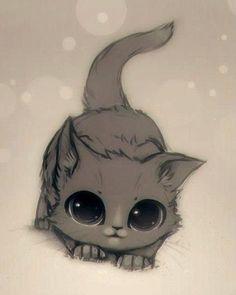 cute kitten tattoo different colours (Blackwhite, yellow eyes)