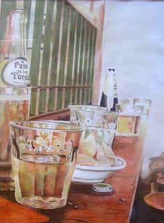 Paso de los toros  1997 (21 x 28,5  watercolor on paper) https://www.facebook.com/Riflessi-e-trasparenze-di-Germana-Galdi-152645784768295/