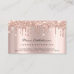 Aftercare Instructions Lash Rose Gold Drips Spark Business Card (you can personalize it) 3d Business Card, Artist Business Cards, Plastic Business Cards, Beauty Business Cards, Salon Business Cards, Gray Shower Curtains, Gold Drip, Lash Room, Rose Gold Frame
