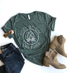 Cozy by the campfire camping shirt autumn shirt womens shirt autumn tee bonfire shirt Fall Shirts, Kids Shirts, Fleece Lined Hoodie, Country Shirts, Country Outfits, Camping Outfits, Shirt Style, Cute Outfits, Casual Outfits