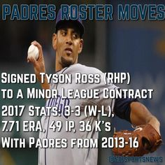 Padres have signed Right Handed Pitcher Tyson Ross to a Minor League Contract. Ross struggled last season with the Texas Rangers but is coming back to San Diego where he played from 2013 to 2016 and was an All-Star in 2014. #gopadres #keepthefaith #friarfaithful #padres #sandiego #phillies #philadelphia  #mlb