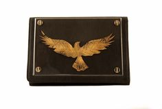 Devina Juneja Raven clutch - using leather, gold foiling and acrylic - visit us at www.devinajuneja.com