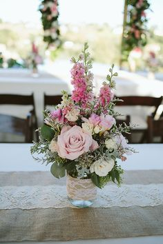 Simple centerpiece idea with a jar wrapped in burlap and lace and pink pastel floral | Always Flawless Productions | San Diego's Best Wedding Planner | Real Weddings: Ryan + Xixi