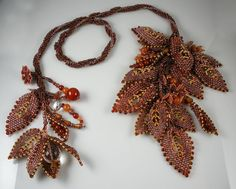 Beadweaving Spiral Rope Necklace with Russian Leaves
