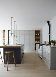 Home Interior Ideas NOTE: My dream kitchen. A smaller version of this would be perfect as the downstairs kitchen.Home Interior Ideas NOTE: My dream kitchen. A smaller version of this would be perfect as the downstairs kitchen. Grey Kitchen Cabinets, Home Decor Kitchen, Scandinavian Kitchen, Kitchen Flooring, Kitchen Decor, Interior Design Kitchen, Kitchen Inspiration Design, Home Kitchens, New Kitchen Cabinets