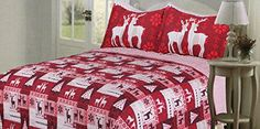 Product review for Christmas Quilt Bedspreads 3 Piece Set - Bedspread Coverlet and Holiday Pillow Shams - Premium Quality Microfiber Red and White Bed Covers with Reindeer and Christmas Tree Design.  - Not only are these Holiday Quilt Sets exceptionally festive and cheerful, they are also made to last many years for you, your family, and Holiday guests to enjoy! Crafted with only top quality Microfiber and an exclusive fade resistant dying process that makes the vibrant colo