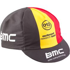 Bmc cycling cap black ,yellow and red the colors that make look like a real cycling start