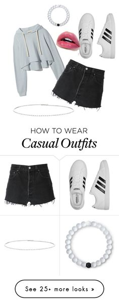 """Casual"" by lunaxtop on Polyvore featuring RE/DONE, adidas, Suzanne Kalan and Lokai"