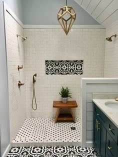 My Master bath remodel. Black and whi… My Master bath remodel. Black and white patterned tile. Best Bathroom Tiles, Bathroom Flooring, Vanity Bathroom, Bathroom Cabinets, Bathroom Tile Showers, Simple Bathroom, Tiled Showers, Master Bath Shower, Bathroom Hacks