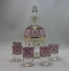 1960s Enamel Daisy Decorated Decanter Set with Gold Leaf Trim and 5 Matching Shot Glasses
