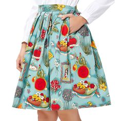 Vestidos 2017 Women Pinup Vintage Skirts Rockabilly 50s 60s Skirt Autumn Floral Print Pleated High Waist Midi Saia Vestido 6294