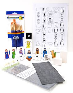 Paint your own nativity set using our letter/picture blocks - free-standing, own-brand ceramic bisque pottery designs.