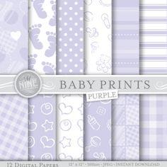 Pale Purple BABY Prints Digital Paper Pack Pattern Prints, Instant Download, Variety of 12 Printable Patterns Scrapbook Paper UNISEX