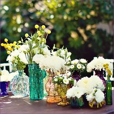 flowers in vintage vases