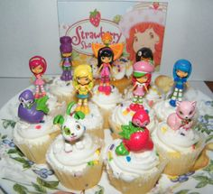 Amazon.com: Strawberry Shortcake Deluxe Figure Cake Toppers / Cupcake Decorations Set of 12 with Custard, Pupcake, Orange Blossom, Lemon Mer...