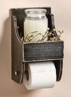 Rustic Toilet Paper Holder with Shelf Country Farmhouse Bathroom Decor, Rustic bathroom decor, Primitive, Housewarming gift idea, home decor Modern Farmhouse Bathroom, Country Farmhouse Decor, Rustic Decor, Farmhouse Style, Country Style, Country Bathrooms, Rustic Design, French Country, Kitchen Rustic