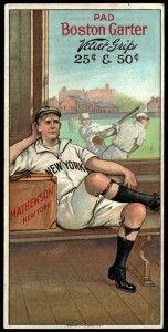 1912 Boston Garter Christy Mathewson. All of the cards in the 1912-14 Boston Garter issues are rare, with Mathewson the most desirable. Only one example is known to exist. The oversized cards were inserted one per box of Boston Garter men's sock garters. Each large & brightly lithographed 1912 card shows a player in the locker room showing off his snazzy sock garters. In the background, a large open window shows a game in progress.