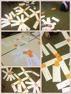 Big floor concept mapping. Student use strips of paper to make connections - flexible strategy, collaborative, allows for seeing the big picture