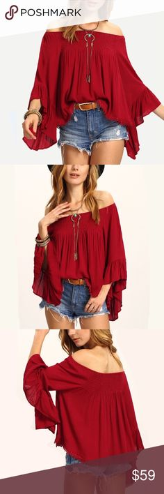 Spotted while shopping on Poshmark: 2 LEFT! Boho Off Shoulder Red Blouse!! #poshmark #fashion #shopping #style #Trend Setter Diva Boutique #Tops