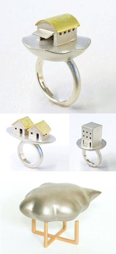 """Japan's Omaruhouse (Yusuke Maruyama) and enter a world of miniature houses atop pots, vessels, boxes and more (click """"blog"""" on his site and then scroll all the way down on the photos page). - seen on The Carrotbox modern jewellery blog and shop — obsessed with rings"""