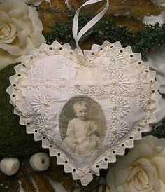 lace heart ornament with vintage photo transfer