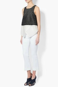 One of Derek Lam 10 Crosby's staple 2 in 1 tops. This style features an eyelet crop with a cotton tank underlay. Perfect for work or play.  2-In-1 Embroidered Tank by Derek Lam 10 Crosby. Clothing - Tops - Tees & Tanks Clothing - Tops - Sleeveless Canada