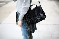 Proenza Schouler Black Leather Foldover Ps1 Messenger Bag