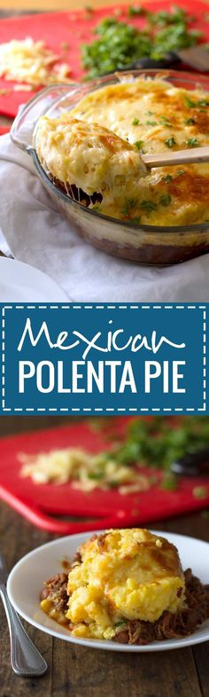 This Mexican polenta pie is true comfort food! Made with pork and pinto beans in the crockpot and baked with polenta and cheese.