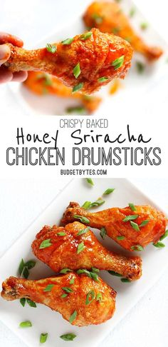 Sweet and spicy honey sriracha chicken drumsticks made perfectly crispy by baking in the oven! Change up the sauce for a different meal every week!