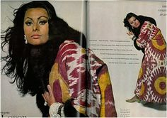 Sophia Loren - Vogue magazine, 1st November 1966 - antique uzbek IKAT robe.