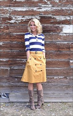 Trench Button Skirt Stripe Top : Mikarose Fashion, Reinventing Modest Fashion