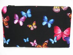 Small Flat Zipper Pouch, Butterfly Fabric, Notions Bag, Electronics / Phone Holder, Coupon Pouch, Make Up Zip Bag, Gift Her, Mom, Black by PBJKreations on Etsy