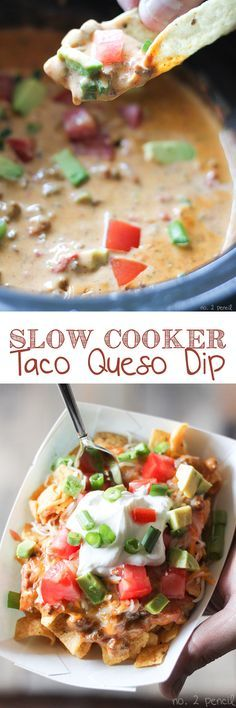 Slow Cooker Taco Queso is perfect for dunking tortilla chips, or make this delicious Taco Queso Boat with corn chips, shredded cheese and taco toppings. Taco Queso Dip is the ultimate football food! -More family favorite recipes on numb Slow Cooker Tacos, Slow Cooker Recipes, Crockpot Recipes, Cooking Recipes, Dip Recipes, Mexican Food Recipes, Appetizer Recipes, Party Appetizers, Bean Recipes