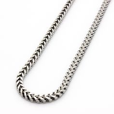 """Mens Franco Chain 36/"""" 6mm Stainless Steel White Gold Finish Box Lock"""