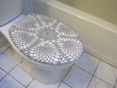 Crochet Toilet Seat Cover or Tank Lid Cover   platinum by ytang