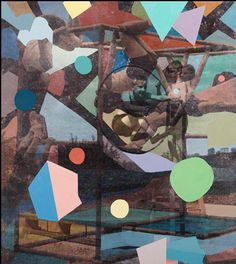 Adrienne Milwood, Hoop, 2014, Oil on photo-releases on board 445mm x 395mm