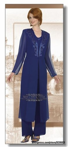 Chiffon Royal Blue mother of the bride pants suits with classic long jacket US $152.00