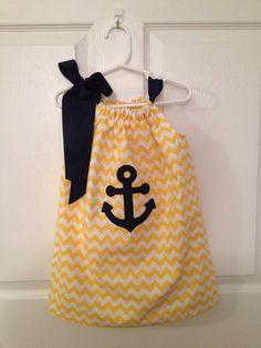 Chevron Pillowcase Dress with Anchor Applique or Monogram. $25.00, via Etsy.