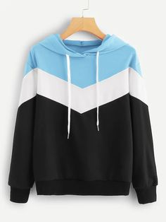 Cut And Sew Drawstring Hoodie Pullover Hoodie, Hoodie Sweatshirts, Sweater Hoodie, Stylish Hoodies, Cool Hoodies, Hoodie Outfit, Jugend Mode Outfits, Teen Fashion Outfits, Punk Fashion