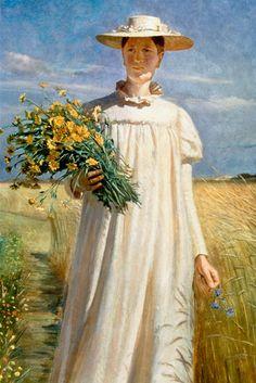 Michael Peter Ancher (Danish artist, 1849–1927) Artist's wife Anna Ancher