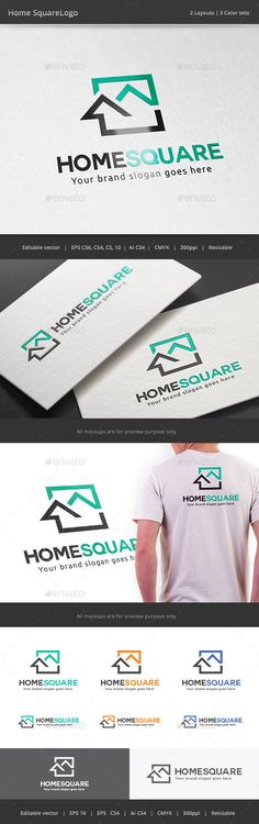 Home Square Real Estate Logo Template #design #logotype Download: http://graphicriver.net/item/home-square-real-estate-logo/11181917?ref=ksioks
