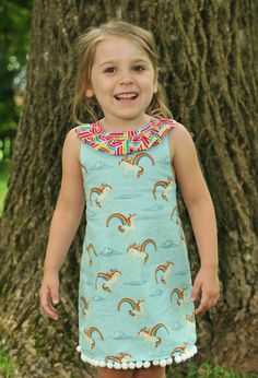Two-many: Starlite Dress featuring Unicorns and Rainbows by Doohikey Designs for Riley Blake Designs #unicorns #rainbows #doohikeydesigns #rileyblakedesigns